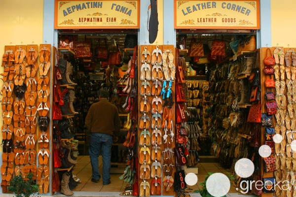 Athens bazaars: Shoes shop in Plaka
