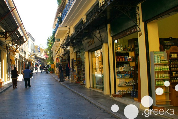 Street in Plaka flea market, Athens city