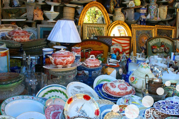 China collection in Monastiraki flea market, Athens
