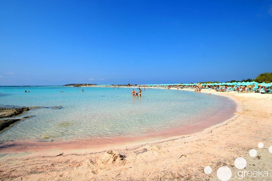 Elafonissi beach in Crete with the famous pink sand