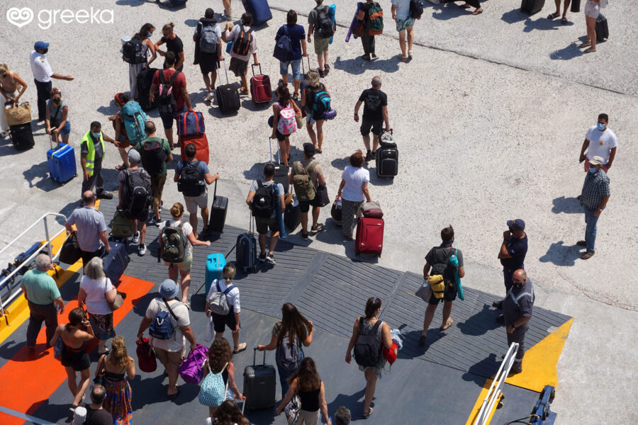 Disembarking from a ferry