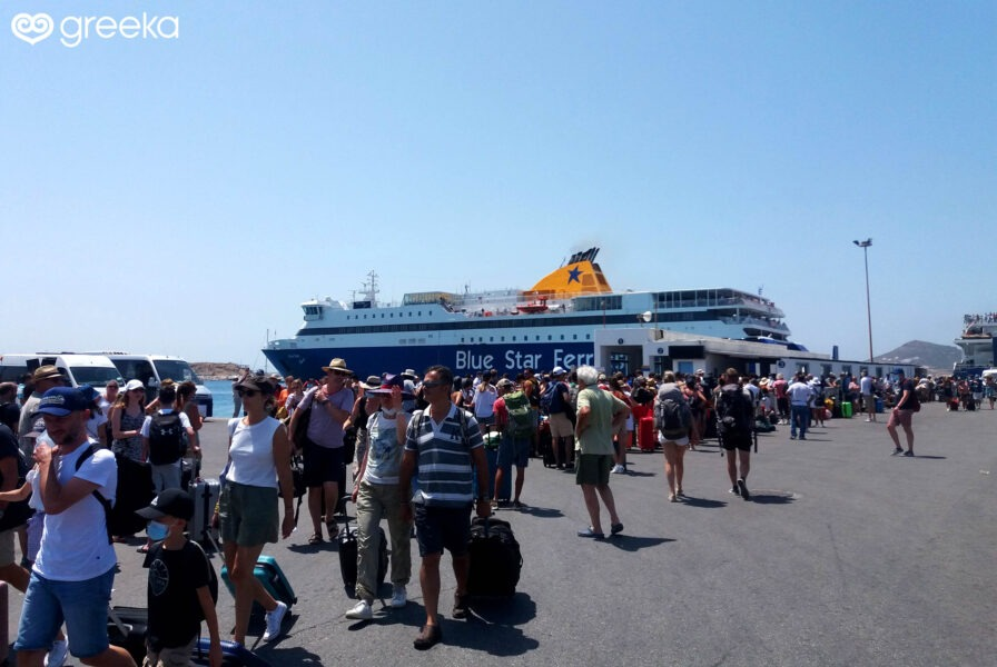 Embarkation and disembarkation at the port of an island