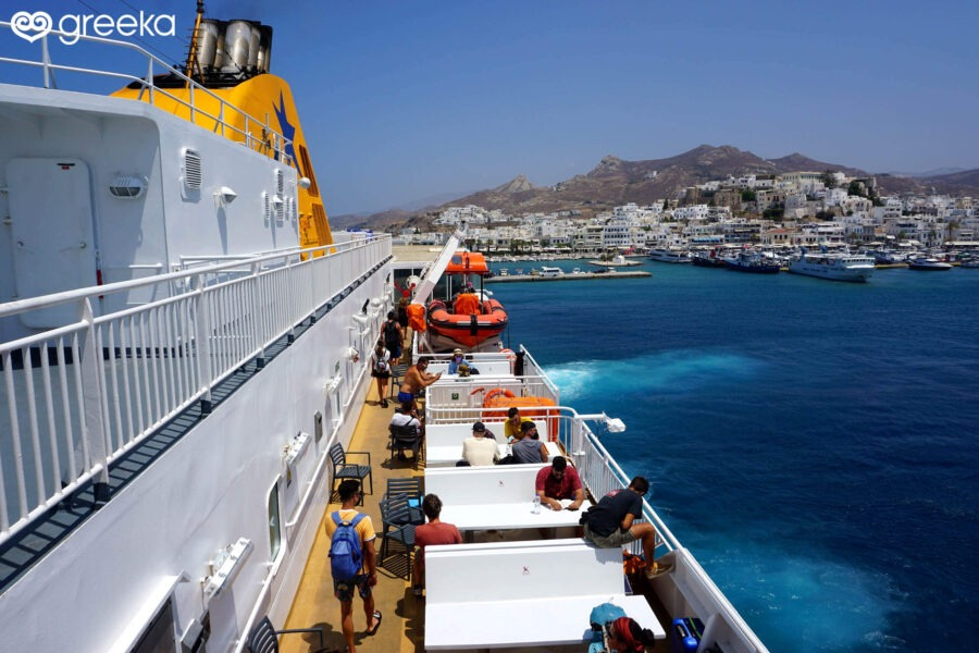 Blue Star Ferries departing from the port of Naxos