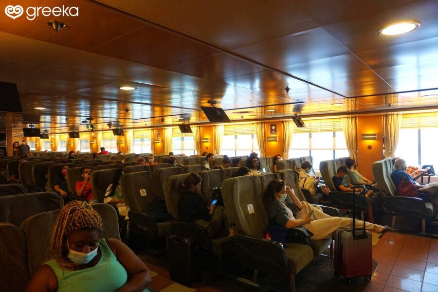 Air-type seating area on a Blue Star ferry