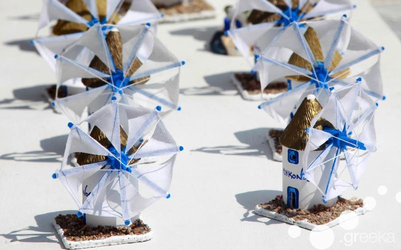 Greek souvenirs: small windmills from Mykonos