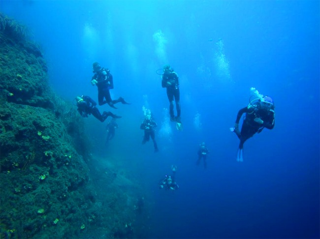 Diving in Santorini island, Greece