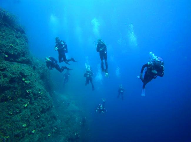 Diving in Santorini island, Greece