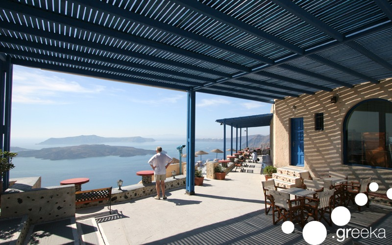 View from the terrace of Santo Wines in Santorini