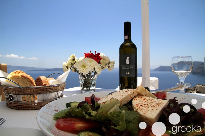 Famous wine of Santorini Greece